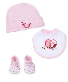 Morisons Baby Dreams Cap, Bib And Booties Set Birdy Print - Pink