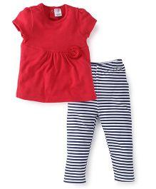 Morisons Baby Dreams Short Sleeves Top And Leggings Set - Red