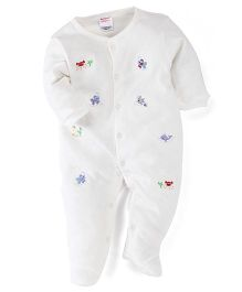 Morisons Baby Dreams Full Sleeves Embroidered Romper - White
