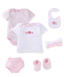 Morisons Baby Dreams Baby Gift Box Pack Of 7 Floral Print - Pink