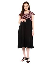 Mine4Nine Square Neck Maternity Dress Polka Dot Print - Black