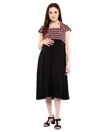 Mine4Nine Square Neck Maternity Dress Polka Dot Print - Black