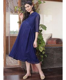 Mine4Nine Collar Lace Dress - Blue