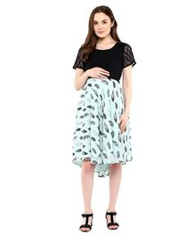 Mine4Nine Feather Print Lace Maternity Dress - Black