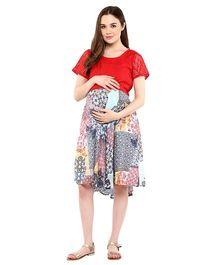 Mine4Nine Ethnic Block Print Lace Maternity Dress - Red