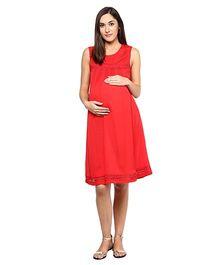 Mine4Nine Sleeveless Pleat Dress - Coral