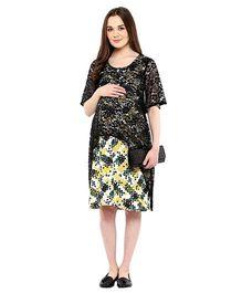 Mine4Nine Half Sleeves Maternity Dress - Yellow Green Black