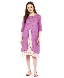 Mine4Nine Three Fourth Sleeves Abstract Print Layered Maternity Dress - Purple