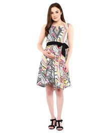 Mine4Nine Sleeveless Tribal Print Maternity Dress With Fabric Belt - Multicolor