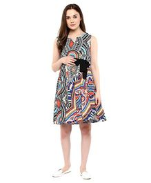 Mine4Nine Sleeveless Tribal Print Maternity Dress With Fabric Belt - Multicolor