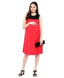 Mine4Nine Sleeveless Sequins Pleat Maternity Dress - Pink