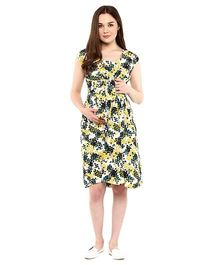 Mine4Nine Cap Sleeves Printed Maternity Dress - Yellow & Green