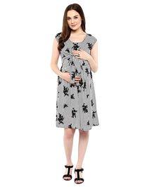 Mine4Nine Cap Sleeves Monochrome Print Maternity Dress - Grey