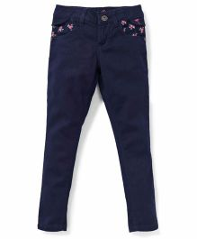 Palm Tree Casual Pants With Floral Print Pockets - Navy