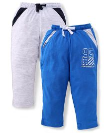 Palm Tree Drawstring Track Pant Pack Of 2 - Light Grey And Royal Blue