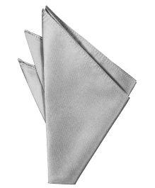 NeedyBee Solid Pocket Square Handkerchief - Silver