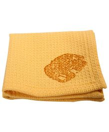 NeedyBee Elephant Block Printed Soft Organic Cotton Handkerchief - Yellow