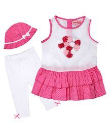 Chicabelle Dress With Hat & Legging - Pink & White