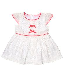 Chicabelle Cap Sleeve Dress With Bow - Off White