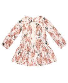 Chicabelle Bird Print Dress - Off White