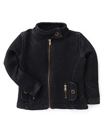 Button Noses Full Sleeves Jacket - Black