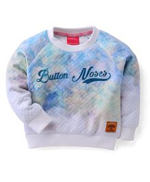 Button Noses Full Sleeves Printed Sweatshirt - Blue