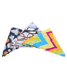 NeedyBee Printed Handkerchiefs Pack Of 3 - Multicolour