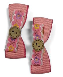 Sugarcart Bow With Cute Button On Alligator Clip - Pink