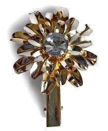 Sugarcart Rich Flower With Diamond Alligator Clip - Golden