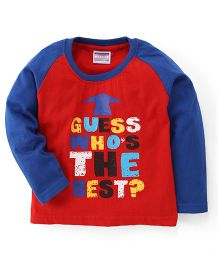 E-Todzz Full Sleeves T-Shirt The Best Print - Red Blue