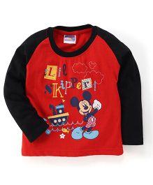 E-Todzz Full Sleeves T-Shirt Mickey Print - Black Red