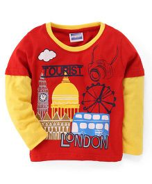 E-Todzz Full Sleeves T-Shirt London Print - Red Yellow