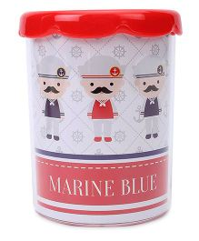 Deli Pen Stand Marine Blue Print - Red