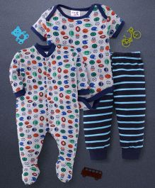 Kidi Wav Base Ball Print Onesie Footie & Pyjama Set - Multicolour
