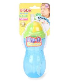 Nuby No Spill Flip It Straw Cup Blue And Green - 420 ml