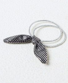 Kidcetra Ponytail Bands With A Striped Hairtie - Silver