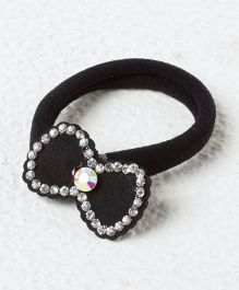 Kidcetra Stone Studded Bow Ponytail Band - Black