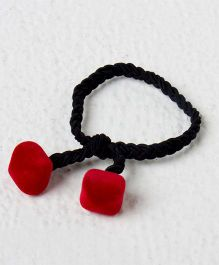 Kidcetra Braided Ponytail Band With 2 Velvet Hairties - Red
