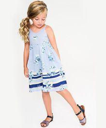 Yo Baby Floral A-Line Dress - Blue & White