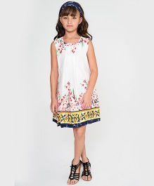 Yo Baby Floral Square Neck Dress - White & Pink