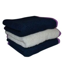 Mom's Home Organic Super Soft Baby Wash Towels Navy White - Pack of 3