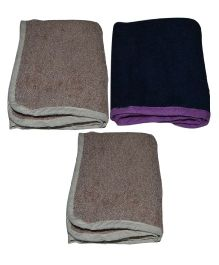 Mom's Home Organic Super Soft Baby Wash Towel Beige Navy - Pack of 3