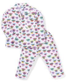 Teddy Full Sleeves Monkey Face Printed Night Suit - White
