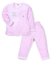 Teddy Full Sleeves I Love Teddy Printed Night Suit - Light Pink