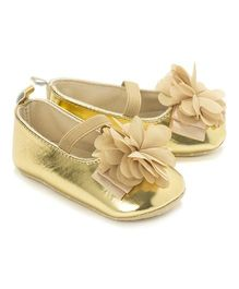 Little Hip Boutique Metallic Flower Walkers - Golden