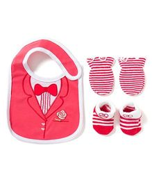 Little Hip Boutique Gentleman Bib Socks & Mittens Set - Pink