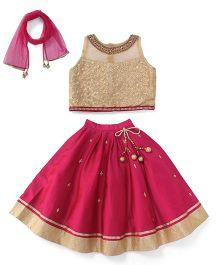 Ami Ghagra Choli And Dupatta Embellished Neckline - Beige & Pink