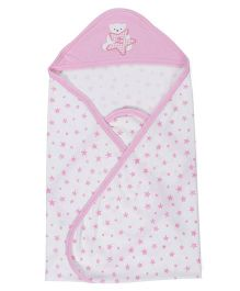 Zero Hooded Wrapper With Star Print - White & Light Pink