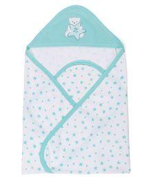 Zero Hooded Wrapper With Star Print - White & Light Aqua