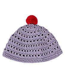 Kidofy Pompom Woolen Cap - Purple